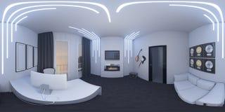 ilustração 3d de um escritório domiciliário em um estilo do espaço Foto de Stock