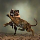 ilustração 3D de um gladiador que luta com um tigre Fotografia de Stock Royalty Free