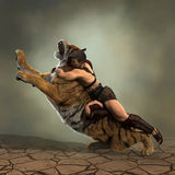 ilustração 3D de um gladiador que luta com um tigre Imagens de Stock