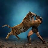 ilustração 3D de um gladiador que luta com um tigre Foto de Stock Royalty Free