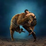 ilustração 3D de um gladiador que luta com um tigre Imagens de Stock Royalty Free