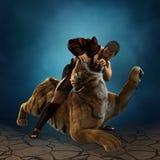 ilustração 3D de um gladiador que luta com um tigre Imagem de Stock Royalty Free