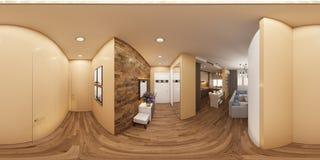ilustração 3d de um panorama sem emenda de 360 graus do interi Imagens de Stock Royalty Free