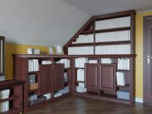 ilustração 3d de uma biblioteca home no assoalho do sótão de uma casa privada Foto de Stock Royalty Free