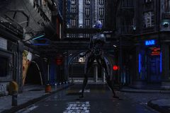 ilustração 3D de uma cena urbana futurista com Cyborg ilustração do vetor