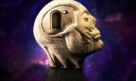 ilustração 3d de uma estrutura principal humana do sumário galáctico liso com uma porta fechado que conduza a uma outra dimensão ilustração royalty free