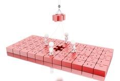 ilustração 3D Desenvolvimento de equipas do negócio uma serra de vaivém do enigma Imagem de Stock Royalty Free