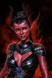 ilustração 3D digital de uma fantasia impetuosa bonita do demônio ou de uma mulher estrangeira ilustração royalty free