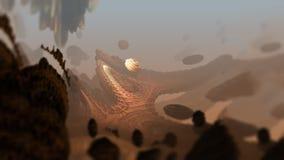Ilustração 3d digital macro da estrutura geométrica abstrata da superfície da rocha da natureza Imagem de Stock