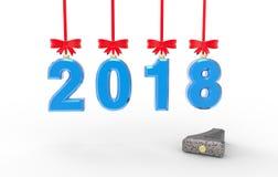 Ilustração 3d do ano novo 2018 Imagens de Stock Royalty Free