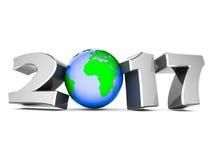 Ilustração 3D do ano novo feliz 2017 Imagens de Stock