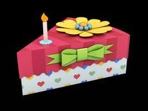 a ilustração 3d do bolo do cartão do triângulo do feriado ou da caixa da torta, empacotar para o alimento, presente ou outros pro foto de stock