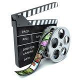 ilustração 3d do carretel do aplauso e de filme do cinema, sobre o branco Foto de Stock