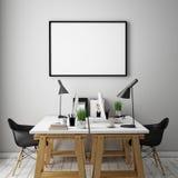 a ilustração 3D do cartaz molda o molde, zombaria do espaço de trabalho acima, Fotografia de Stock