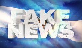 ilustração 3D do conceito falsificado da notícia com a bandeira do fundo de Argentina ilustração do vetor