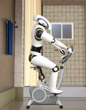 ilustração 3D do Cyborg futurista na bicicleta de exercício Fotos de Stock Royalty Free