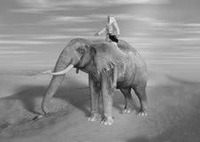 ilustração 3D do elefante da equitação do aventureiro do deserto em Sunny Day ilustração do vetor