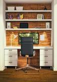 ilustração 3d do escritório espaçoso grande em cores de luz suave ilustração royalty free