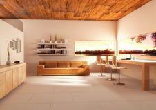 ilustração 3d do escritório espaçoso grande em cores de luz suave em e ilustração stock