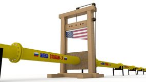 ilustração 3D do gasoduto do córrego 2 de Nord, na guilhotina A ideia de sanções internacionais, da guerra econômica e ilustração stock