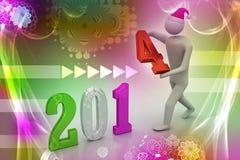 ilustração 3d do homem de negócios que apresenta o ano novo 2014 Fotografia de Stock Royalty Free