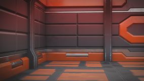ilustração 3d do interior futurista da nave espacial do projeto Ilustração ilustração stock