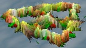 a ilustração 3D do macro abstrato rende a estrutura feita de colunas de milhões Fotos de Stock Royalty Free