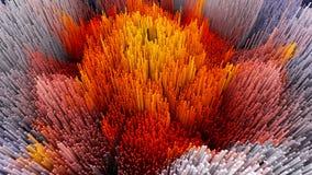 a ilustração 3D do macro abstrato rende a estrutura feita de colunas de milhões Imagens de Stock