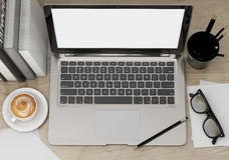 ilustração 3D do molde moderno do portátil, zombaria do espaço de trabalho acima, fundo Imagem de Stock