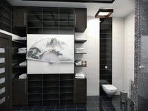 ilustração 3D do projeto de um banheiro na cor preto e branco Imagens de Stock