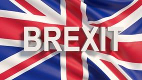 ilustração 3D do referendo de Brexit com bandeira do Reino Unido e texto 3d ilustração royalty free