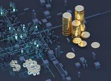 ilustração 3D do símbolo do bitcoin que aumenta da cidade moderna na margem ilustração stock