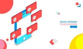 ilustração 3D do smartphone com ícones da conversação da mensagem sobre ilustração do vetor