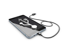 ilustração 3d do telefone celular com conexão de USB Imagem de Stock