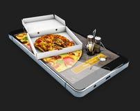 ilustração 3d do Web site em linha do alimento da ordem Serviço online da entrega da pizza do fast food Preto isolado Fotos de Stock Royalty Free