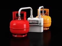 ilustração 3d dos cilindros de gás do propano com medidor de gás em um fundo preto imagens de stock royalty free