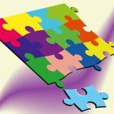 ilustração 3D dos enigmas em um fundo colorido Imagem de Stock Royalty Free