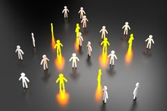 ilustração 3D dos indivíduos selecionados que estão em uma multidão ilustração royalty free