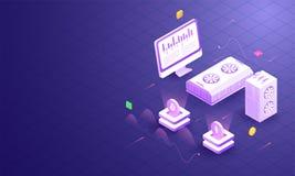 ilustração 3D dos servidores criptos conectados com o desktop na grade ilustração royalty free