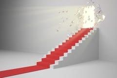 ilustração 3D a fase do conceito ao sucesso da parede quebrada com luz do sol Fotos de Stock