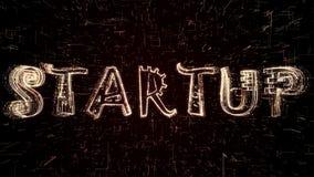 Ilustração 3D futurista do texto Startup que está sendo formado programando o código ilustração do vetor