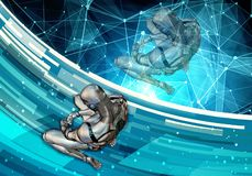 Ilustração 3d gerada por computador artística abstrata de um homem inteligente artificial triste que ajusta-se na derrota em um f ilustração royalty free