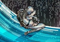 Ilustração 3d gerada por computador artística abstrata de um homem inteligente artificial triste que ajusta-se na rendição comple ilustração royalty free