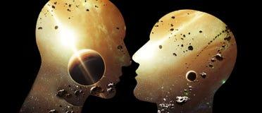 Ilustração 3d gerada por computador artística da relação inteligente artificial humana do sumário dois galáctico que beija quase  ilustração do vetor
