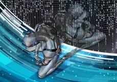 Ilustração 3d gerada por computador artística de um homem inteligente artificial deprimido que ajusta-se na derrota em uma fluênc ilustração royalty free