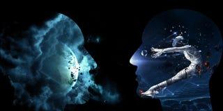 Ilustração 3d gerada por computador artística de uma relação inteligente artificial humana do sumário galáctico em um fundo preto ilustração stock