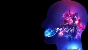 Ilustração 3d gerada por computador artística de uma relação inteligente artificial humana do sumário galáctico em um fundo preto ilustração do vetor