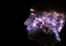 Ilustração 3d gerada por computador artística de uma relação inteligente artificial humana do sumário galáctico liso em um preto ilustração royalty free