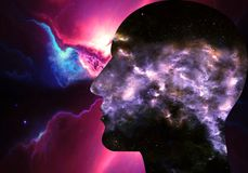 Ilustração 3d gerada por computador artística de uma relação inteligente artificial humana do sumário galáctico moderno em colori ilustração royalty free