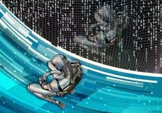 Ilustração 3d gerada por computador artística original do sumário de um ajuste inteligente artificial deprimido do homem na derro ilustração do vetor